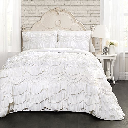 Lush Decor Kemmy Quilt - Ruffled Textured 3 Piece King Size Bedding Set, White Bella King Size Comforter