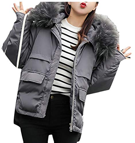 Women's 4 TTYLLMAO Size Warm Jacket Plus Puffer Thicken Collar Fur Hooded Short gAwOdRqA