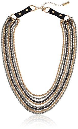 Steve Madden Tri-Tone 8 Layer Rope with Black Leather Buckle Chain Necklace