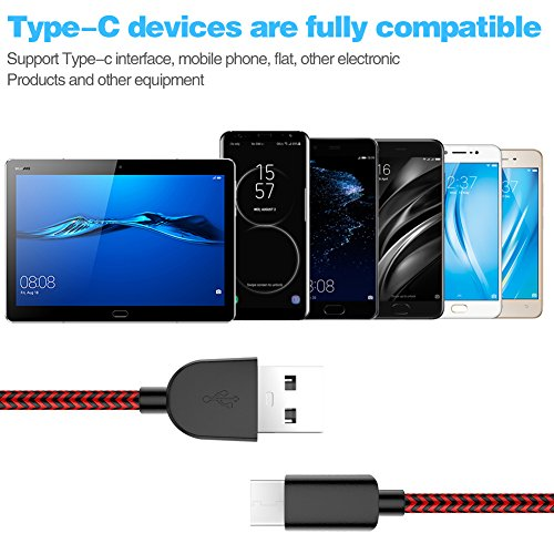 TNSO USB Type C Cable 5Pack (3/3/6/6/10FT) Nylon Braided Cord USB Fast Charger for Samsung Galaxy S9,Note 8,S8 Plus,LG V30 V20 G6 G5,Google Pixel,Nexus 6P 5X,Moto Z Z2 (black and red) by SANYEYE (Image #4)