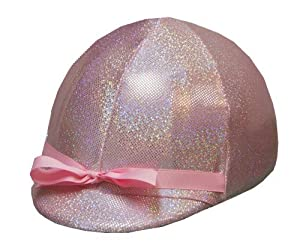 Equestrian Riding Helmet Cover - Holographic Pink