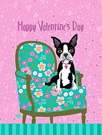 Carolineu0027s Treasures VHA3001GF Happy Valentineu0027s Day Boston Terrier Garden  Flag, Small, Multicolor