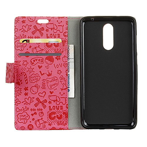 Alcatel A7 Funda Faux Cuero Billetera Funda para Alcatel A7 con Stand Función(Negro) Rosa roja