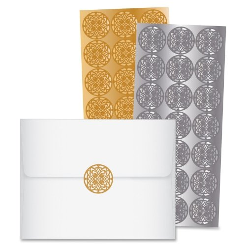 Wholesale CASE of 25 - Quality Park Elegant Touch Foil Seals-Decorative Foil Envelope Seals, 42/PK, Gold/Silver by QUA
