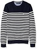 Nautica Men's Standard Long Sleeve Classic Bretton Stripe Sweater, Marshmallow, Large