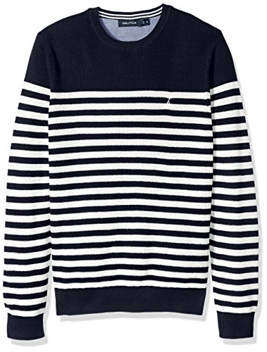 Nautica Ribbed Sweater (Nautica Men's Standard Long Sleeve Classic Bretton Stripe Sweater, Marshmallow, Large)