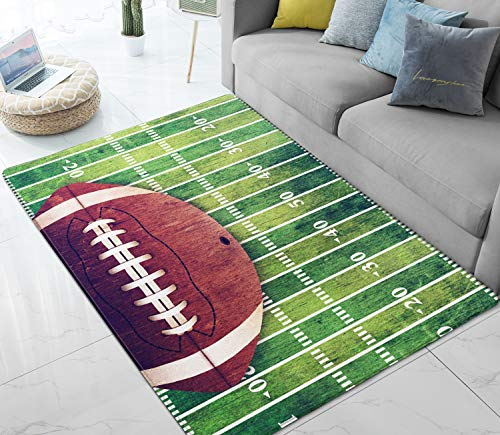 - Area Rugs American Football Field Large Rug Mat for Living Room Bedroom Playing Room 7' x 5'