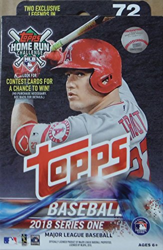 2018 Topps Baseball Factory Sealed Series One Hanger Box with 72 Cards per box including 2 RETAIL EXCLUSIVE Legends in the Making Cards and Possible Autos, Game Used Relic cards and more - World Series Mlb Baseball Jersey