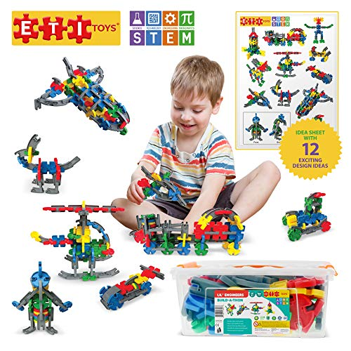 ETI Toys   STEM Learning   104 Piece Lil' Engineers Build-A-Thon; Build Train, Motor Bike, Rocket, Endless Designs! 100% Non-Toxic, Creative Skills Development! Toy for 4, 5, 6 Year Old Boys and Girls
