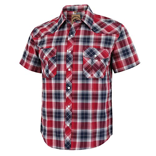 (Coevals Club Men's Short Sleeve Casual Western Plaid Snap Buttons Shirt (2XL, 24# Black,)