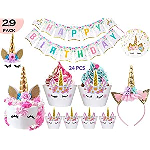 Bestus (29 Pack) Unicorn Cake Topper with Eyelashes, Headband, Cupcake Wrappers and Happy Birthday Banner. / Unicorn…