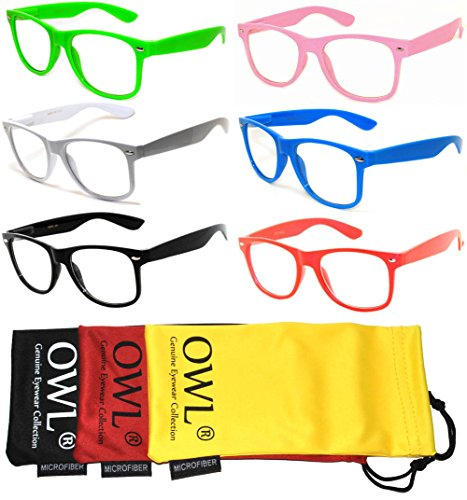 6 Pack Classic Vintage Clear Lens Sunglasses Colored Frame Retro Style. - Nerd Glasses Bulk