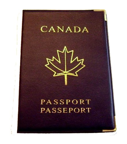 Canadian Canada Navy Blue Passport Holder Cover Maple Leaf Gold Tone Corners