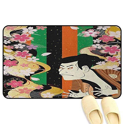 homecoco Kabuki Mask Floor Comfort Mat Colorful Vertical Stripes and Fresh Spring Sakura Blooms and Actor Composition Multicolor Rubber Front Entrance Outside Doormat W47 x L59 INCH