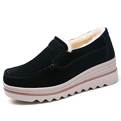 8726d01425f2 STQ-1088hei37 Fur Lined Women Platform Wedge Shoes Winter Comfortable Slip  On Loafers Suede Moccasins