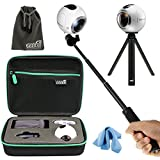 EEEKit All in 1 Kit for Samsung Gear 360 Real 360 VR Camera MS-C200, Shockproof Accessories Carrying Case, Selfie Stick Monopod, Mini Tripod Stand