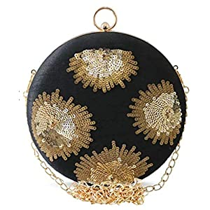 Tooba Handicraft Party Wear Beautiful Round Box Clutch Bag Purse For Bridal, Casual, Party, Wedding