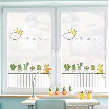 LJIEI Vinilo para Ventana Planta mate baño inodoro puerta corredera ventana antideslumbrante vidrio pegatina película: Amazon.es: Bricolaje y herramientas