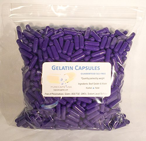 1000 Purple Colored Empty Gel Gelatin Capsules ~Size 0 ~ ...