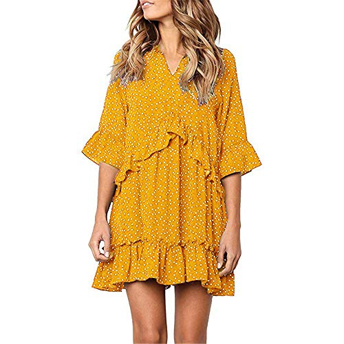- Exlura Women's Ruffle Polka Dot V Neck Bell Sleeve Dress Casual Loose Swing T-Shirt Dress Yellow