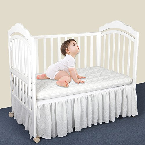 Pueri Crib Skirt Ruffled Crib Bed Skirt Nursery Crib Bedding for Baby Boys or Girls by Pueri