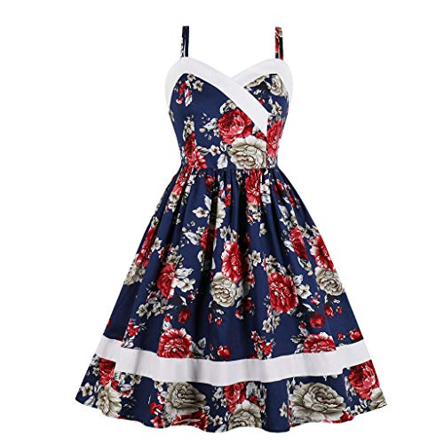 (OTTATAT 2019 Summer Newest Arrival Ladies Women's Dresses,Vintage Print Bow Floral Sping Retro Cocktail Wedding Bodice Crossover Little Pocket Adjustable Self-Tie Ritual Chevron)