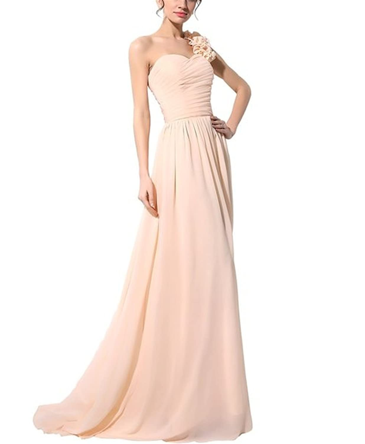 HelloGirls Women's Long One Shoulder Chiffon Bridesmaid Prom Dresses Beaded Party Gowns