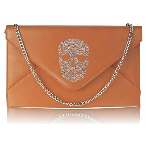 Women's Diamante BROWN Handbag Skull Clutch FLAP SKULL CWE00228 Crystal Flap LeahWard Bag FdqRF
