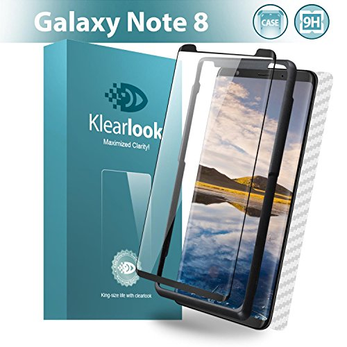 Galaxy Note 8 Screen Protector, Klearlook [S-Pen Compatible][Case Friendly Tempered Glass][Easy Install Tool] + 1 Piece Back Carbon Fiber Skin for Samsung Galaxy Note 8 (Front and Back)
