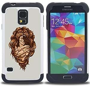 - Awesome Woman Lion Hair Style - - Doble capa caja de la armadura Defender FOR Samsung Galaxy S5 I9600 G9009 G9008V RetroCandy