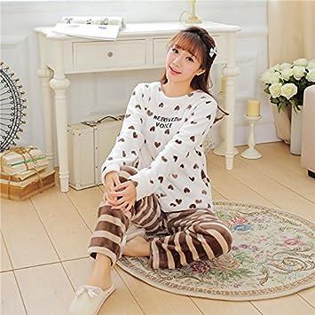 &zhou pijamas mujer ocio invierno pijamas gruesos hogar ropa , khaki , m