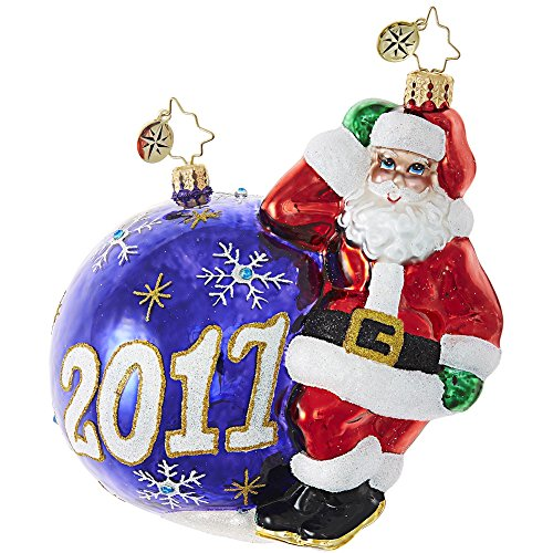 Santa Glass Ball Ornament - Christopher Radko Having a Ball 2017 Dated Santa Glass Ornament