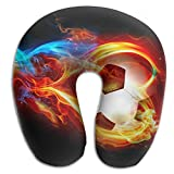 DMN U-Shaped Neck Pillow Creative Soccer With Fire Pillows Soft Portable For Travel Reading Sleeping