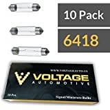 (10 Pack) 6418 Festoon Bulb T11 35mm For License Plate Light Automotive Interior Dashboard