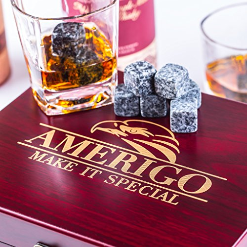 Impressive Whiskey Stones Gift Set with 2 Glasses - Be Different When Choosing a Gift - Luxury Handmade Box with 8 Granite Whiskey Rocks, Ice Tongs & Velvet Bag - Ice Cubes Reusable - Best Man Gift by Amerigo (Image #4)