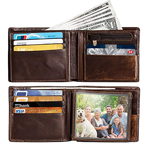 Mens RFID Blocking Minimalist Bifold Genuine Leather Wallet card holder with a back card slot, ID window, 16 card slots (brown)