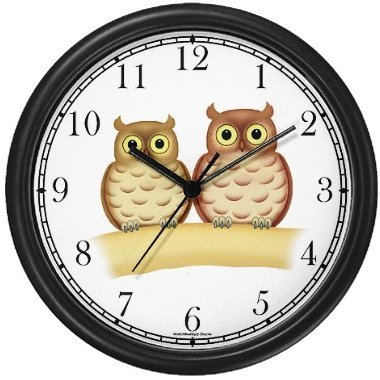 Male & Female Owls Bird JP Wall Clock by WatchBuddy Timepieces (Black Frame)