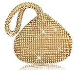 P&R Triangle Luxury Full Rhinestones Women's Fashion Evening Clutch Bag Party Prom Wedding Purse - Best Gife For Women (Gold)