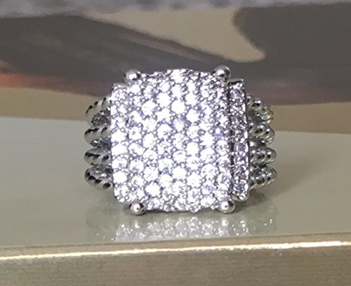 Gempara Designer Inspired 16x12mm Wheaton Ring with Black Onyx and Simulated Pave Diamonds Size 7 9