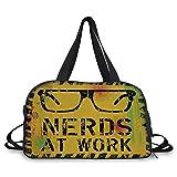 Trunk,Retro,Nerds at Work Grunge Fictional Sign Glasses Hazard Stripes Work Hard Theme,Yellow Black Green,Picture Print