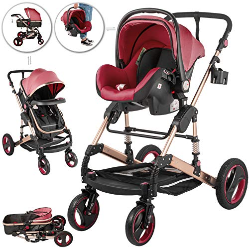 Happybuy 3 in 1 Stroller Red Foldable Luxury Baby Stroller Anti-Shock Springs High View Pram Baby Stroller 3 in 1 with Baby Basket(No Base)