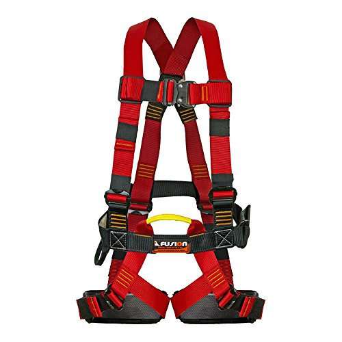Fusion Climb Leap Of Faith Full Body Zipline Harness 23kN M-L Red Black by Fusion Climb