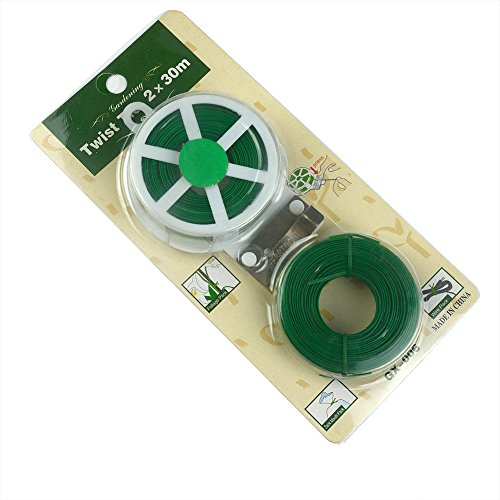 2Pcs 100Ft/30M Light-Duty Soft Green Package Multi-purpose Gardening plant Twist Tie with (Decorative Plant Ties)