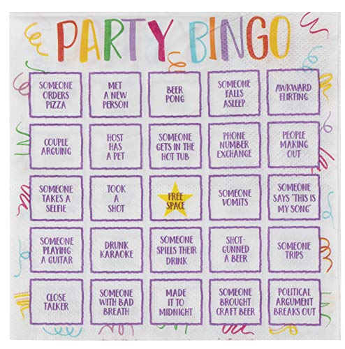Cocktail Napkins - 100-Pack Disposable Paper Party Napkins, Bingo Night Decorations, 2-Ply, Party Bingo Design, White, Unfolded 13 x 13 Inches, Folded 6.5 x 6.5 Inches