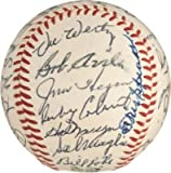Tris Speaker Autographed Baseball - 1956 Indians Team 36 JSA