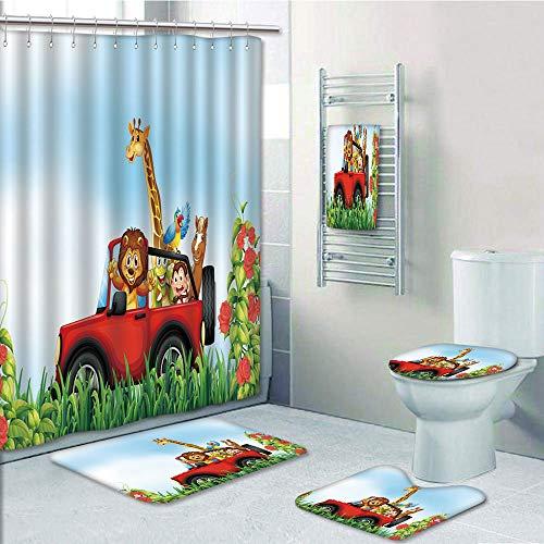 Bathroom 5 Piece Set Shower Curtain 3D Print,Zoo,Cartoon Style Wildlife Animals Riding a Car in Park with Grass and Roses Journey Trip,Multicolor,Bath Mat,Bathroom Carpet Rug,Non-Slip,Bath Towls -