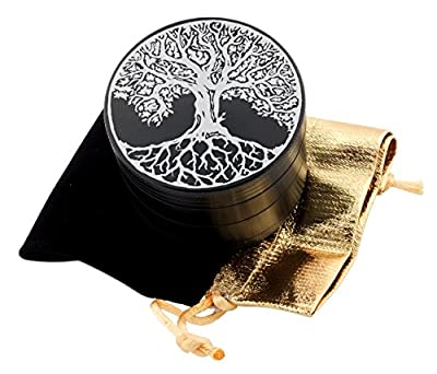 Tree of Life Laser Etched Design 4pcs Large Size Herb Grinder With FREE Scraper & Velvet Pouch Item # ETCH-G012317-247 by DomingUSA