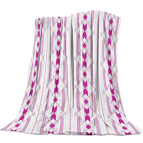 Flannel Fleece Throw Blankets for Bed/Couch, Soft Warm Fuzzy Plush Microfiber All-Season Lightweight Sofa Blanket Stadium Throws - Twin 50x60 Inch Bohemian Traditional Geometric Pattern