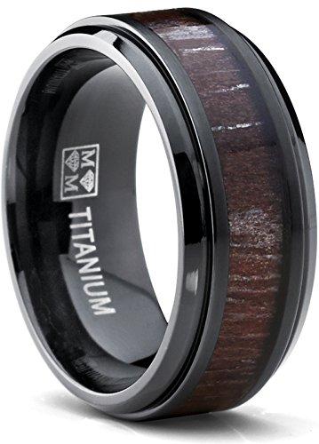 Metal Masters Co. 9MM Black Titanium Men's Wedding Band Ring, Dark Zebra Koa Rosewood Inlay, Comfort Fit Size (Dark Zebra)