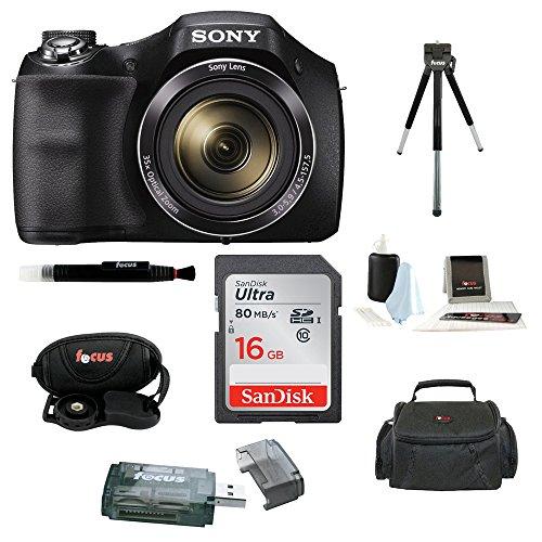 Sony Cyber-shot DSC-H300 Digital Camera (Black) with 16GB Accessory ()